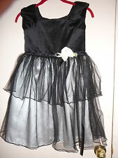 Girl's Dress George Size 8 Black Velvet & Net  Polyester Sleeveless Dressy
