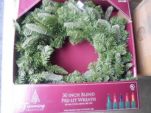 "Trimming Traditions 30"" Pre-Lit MultiColor Lights Christmas Wreath NEW CLEARANCE"