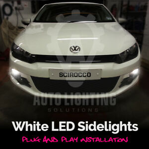 VW Scirocco 2008-2013 2x T10 2 LED BRIGHT WHITE 6000K BULBS SIDELIGHTS 501 W5W