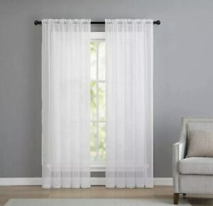 "2 Panels Beautiful Rod Pocket Sheer Voile Window Curtain Panels in White (84""x54"