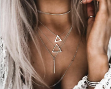 Boho Popular New Triangle Pendant  Women Multi-color Silver Personality Necklace