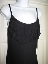 Miken Maxi Cover Up  I9217J232 Fringe Top - Small - Black - NEW w/Tags