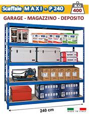 Scaffale Metallo Kit 240 cm per Garage e Magazzino - 400 Kg