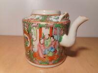 Théière ancienne chinoise porcelaine Canton céramique Chine montée pied lampe
