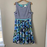 ModCloth Womens XL Blue White Stripe Floral Skirt Fit & Flare Dress Retro