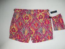 4feb0520a29e6 Polo Ralph Lauren Magenta Colorful Print Flat Front Board Swim Shorts Sz 40