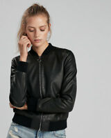 Womens Leather Jacket Black Bomber Pure Lambskin Jacket Size S M L XL XXL TBLC