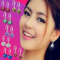 Cute Birthstone Colors Round CZ Crystal Drop Earrings 925 Sterling Silver Plated