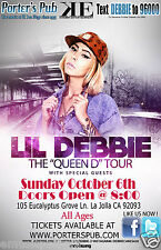"LIL DEBBIE ""THE QUEEN D TOUR"" 2013 SAN DIEGO CONCERT POSTER - Hip-Hop, Rap Music"