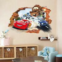 3D Pixar Disney Cars Broken Wall Stickers Vinyl Boys Decal Nursery Art Decor DIY