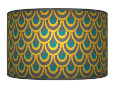 35cm Grey mustard teal Printed Lamp Shade pendant Drum CEILING Light 892