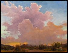Jeff Love Art Original Oil Painting Tucson Arizona Desert Clouds Rain Southwest