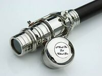 COLLECTIBLE CHROME TELESCOPE SPYGLASS WALKING STICK CANE