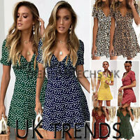 UK Womens Leopard Print Polka Dot Plunge V Neck Beach Holiday Summer Mini Dress