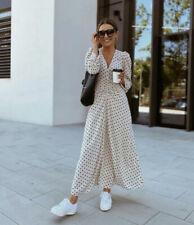 BNWT H&M beige neutral Lunares Vestido Largo años 40 Blogger 8