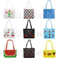 Vintage Acrylic Bags Purse Ladies Crystal Beaded Bag Funcy Fruits Weave Handbag