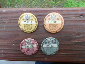 1926=27=28=29 NEW YORK HUNTING LICENSES=VINTAGE CONSERVATION PINS NY=FISHING