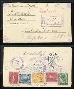 Nicaragua Postal History LOT #129 1931 REG MULTIFRANKED MATAGALPA - MUNICH $$$
