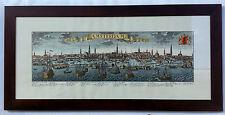 Stampa Antica con Cornice - 62x134 cm - Città di Amsterdam - Quadro Noce
