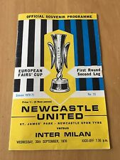 "INTER FC  PROGRAMMA GARA ""NEWCASTLE U. - INTER MILAN"" COPPA DELLE FIERE 1970-71"