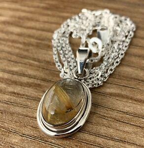 Golden Rutile Quartz Gemstone Pendant Sterling 925 Necklace Jewellery Gift