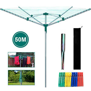 4 Arm Rotary Airer Outdoor Washing Line Clothes Dryer Free Ground Spike + Cover