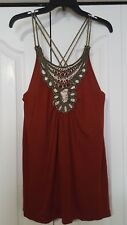 ANA RUST COLORED TANK TOP W/ EMBELLISHED FRONT BLACK GOLD & BEIGE SIZE L