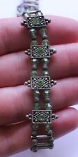 Vintage Sterling Silver 925 & Green Crystal Choker Necklace 16 Grams