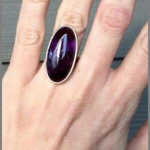 Amethyst Ring 925 Sterling Silver Ring Statement Ring Wide Ring All Size CK-147