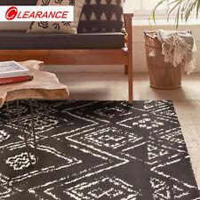Large Diamond Floor Rug Black Tribal Geometric Super Soft Moroccan Rug 190x280cm