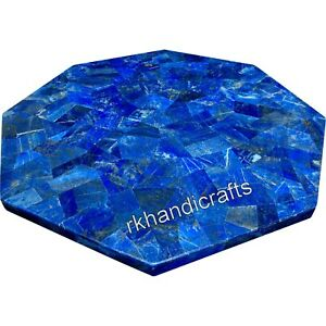 21 Inches Lapis Lazuli Stone Work Sofa Table Top Marble Coffee Table Home Decor