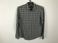 Boss Hugo Boss Flannel Shirt Size XL Slim Fit Gray Plaid Long Sleeve Cotton Mens