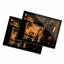2 X Manteles Individuales De Cristal 20x25 Cm-vasos de beber whisky Whisky Alcohol #16205