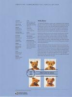 SSS: USPS   2002 Souvenir Page  37c Teddy Bears  Sc #3653-56