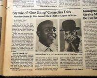 Best STYMIE Matthew Beard Jr. Our Gang Little Rascals Actor DEATH 1981 Newspaper