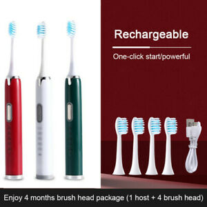 Sonic Electric Toothbrush USB Rechargeable Waterproof w/ 5 Modes+4 Brush Heads