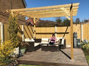 3.6m wide x 3.6m deep x 2.4m timber wooden garden gazebo pergola kit