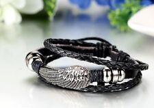 Mens Womens Braided Leather Wrap Strap Vintage Angel Wing Adjustable Bracelet