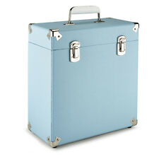 "GPO Vinyl Album Case Records 12"" LPs Storage DJ Flight Box with Lid - Pale Blue"