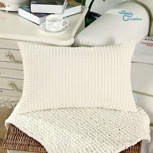 "Rectangle Bolster Pillow Throw Cushion Cover Shells Corduroy Corn Stripes 12x20"""