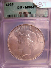 1923 PEACE SILVER RARE GEM ICG MS64 Beauty!! Add to your PEACE SET!  SILVER!