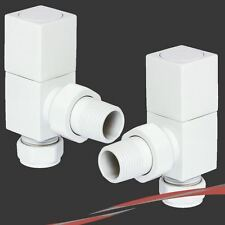 Blanco Cubic Angulado válvulas de radiadores para Radiadores & Toallero (par)