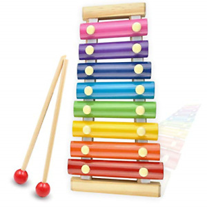 Xylophone for kids, Natural Wooden Toddler Glockenspiel Baby Puzzle Musical Toy