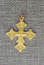 "Old Hutsul 3D Cross Pendant, Regular Brass, 1 1/4""X 1"" #2"
