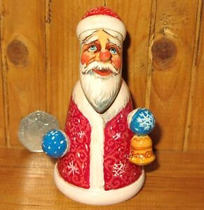 Wood Figure Carving Sculpture Genuine Russian Father FROST Christmas Santa SMALL