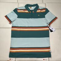 MENS GREEN/RUST STRIPED HANG TEN COTTON POLO SHIRT - NWT Small