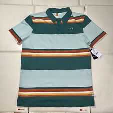 Mens Green/Rust Striped Hang Ten Cotton Polo Shirt - Nwt Small