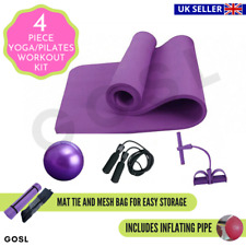 Yoga Pilates Gym Exercise Fitness Set Beginner Non Slip 10mm Thick Mat  4 Piece