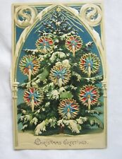 VINTAGE MECHANICAL KALEIDOSCOPE MOVING WHEEL CHRISTMAS XMAS POSTCARD GERMANY