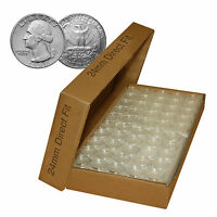 A24 Direct Fit Air-tight Coin Holder Capsules for QUARTERS (QTY: 50) with BOX